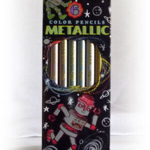 Metallic Color Pencils - Black w/ Robots-0