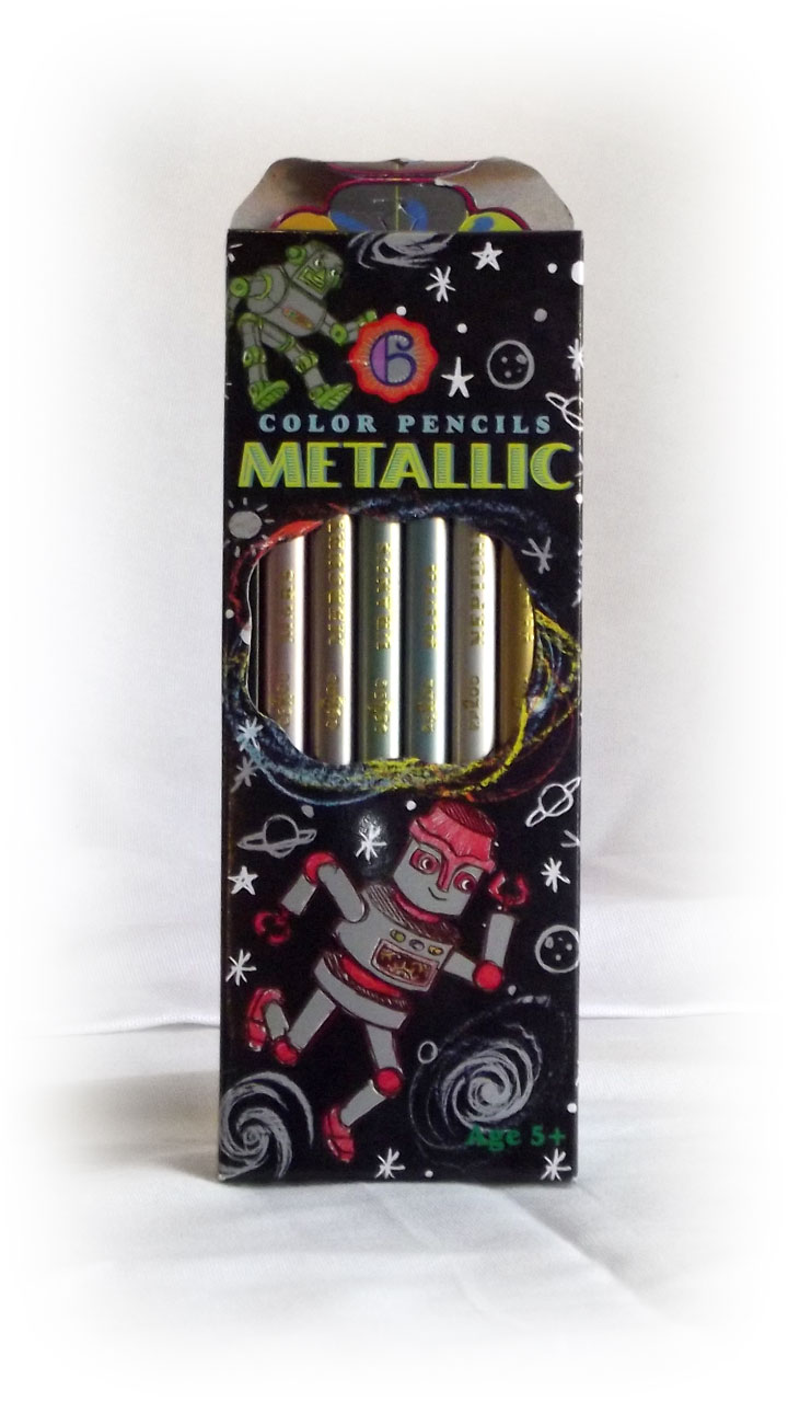 Metallic Color Pencils - Black w/ Robots-0