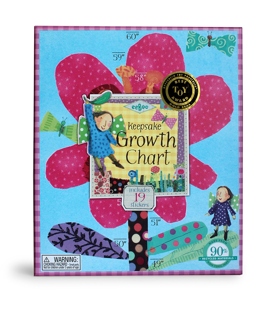Hot Pink Flower Keepsake Growth Chart-0