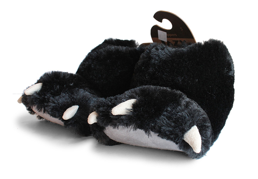 Lazy One Bear Paw Slipper - Black-0