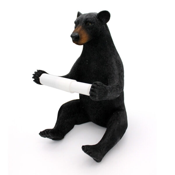 Bear with a empty roll of Toilet Paper