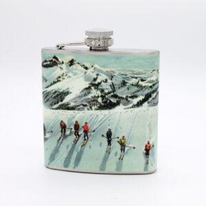 snow ski vintage flask